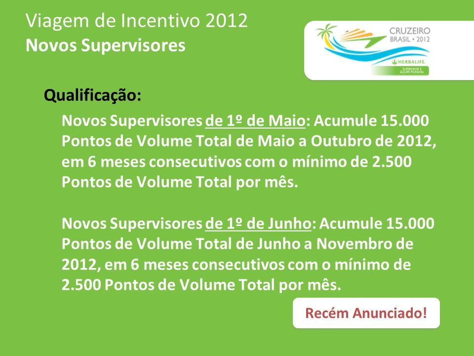 Viagem de Incentivo 2012 Supervisores e Equipe Mundial Qualificação: Alcance 2.500 Pontos de Volume Total por mês em 10 meses consecutivos de Janeiro a Outubro de 2012.