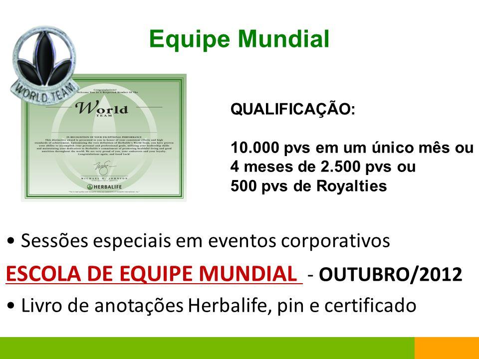 Equipe Mundial Sessões especiais em eventos corporativos ESCOLA DE EQUIPE MUNDIAL - OUTUBRO/2012 Livro de anotações Herbalife, pin e certificado QUALI