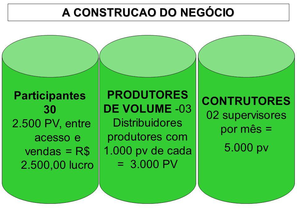 A CONSTRUCAO DO NEGÓCIO Participantes 30 2.500 PV, entre acesso e vendas = R$ 2.500,00 lucro PRODUTORES DE VOLUME -03 Distribuidores produtores com 1.