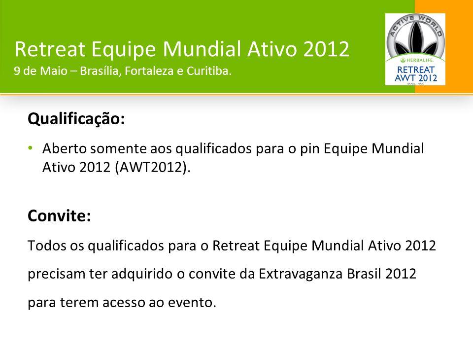Qualificação: Aberto somente aos qualificados para o pin Equipe Mundial Ativo 2012 (AWT2012). Convite: Todos os qualificados para o Retreat Equipe Mun