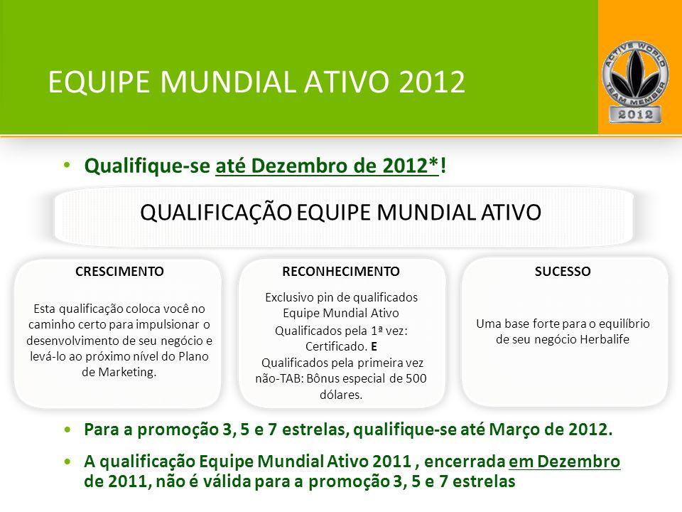 EQUIPE MUNDIAL ATIVO 2012 Qualifique-se até Dezembro de 2012*! Para a promoção 3, 5 e 7 estrelas, qualifique-se até Março de 2012. A qualificação Equi