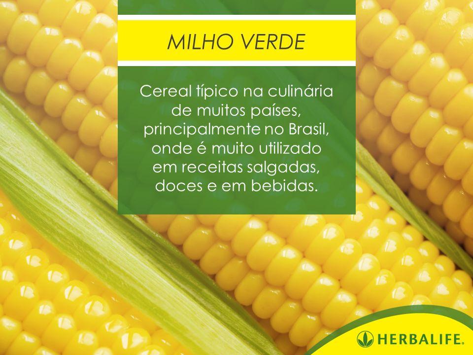 Cereal típico na culinária de muitos países, principalmente no Brasil, onde é muito utilizado em receitas salgadas, doces e em bebidas. MILHO VERDE