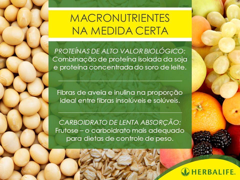 MACRONUTRIENTES NA MEDIDA CERTA PROTEÍNAS DE ALTO VALOR BIOLÓGICO: Combinação de proteína isolada da soja e proteína concentrada do soro de leite. Fib
