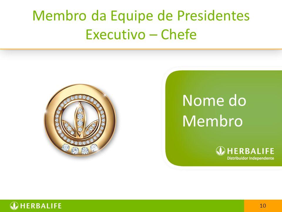 10 Membro da Equipe de Presidentes Executivo – Chefe 10 Nome do Membro