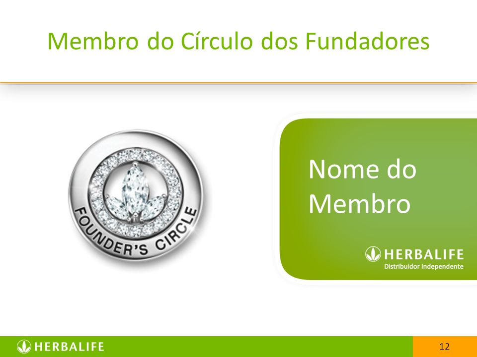 12 Membro do Círculo dos Fundadores Nome do Membro 12