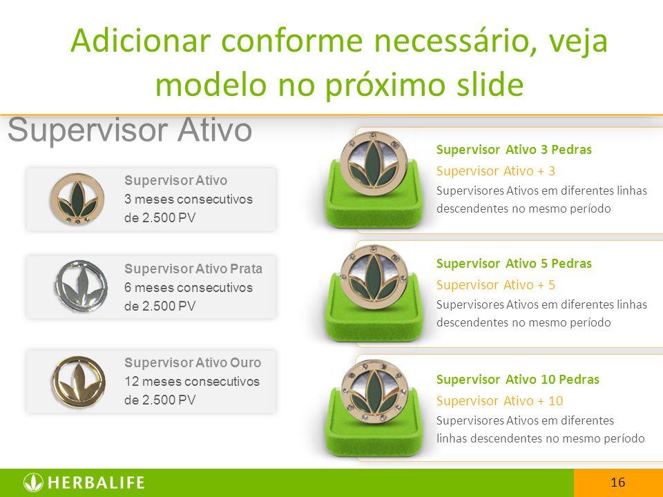 16 Supervisor Ativo 3 meses consecutivos de 2.500 PV Supervisor Ativo Prata 6 meses consecutivos de 2.500 PV Supervisor Ativo Ouro 12 meses consecutiv