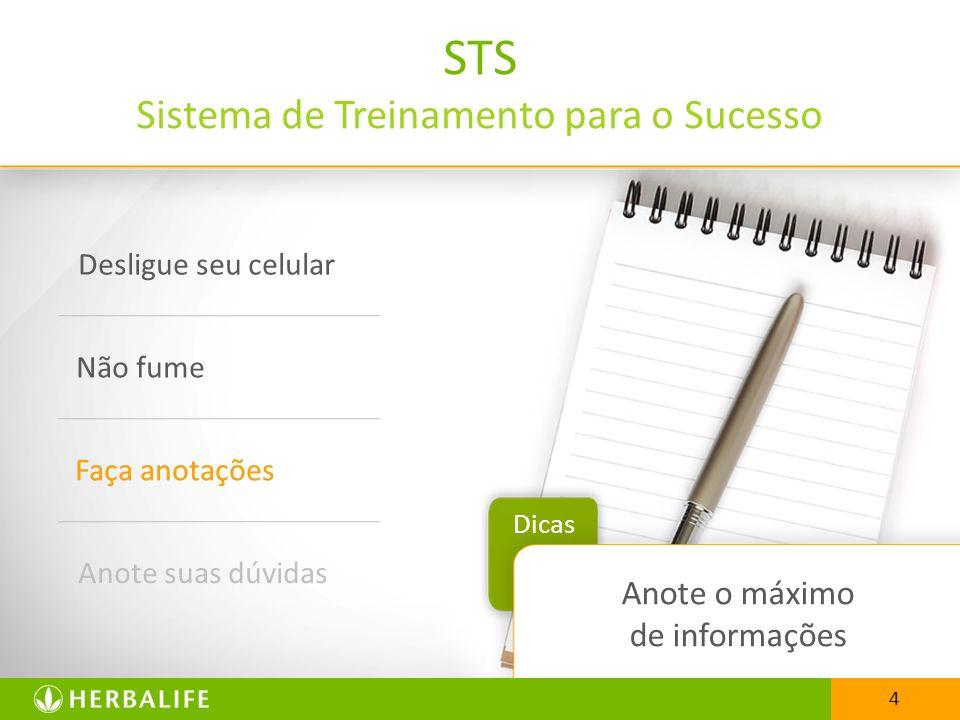 4 STS Sistema de Treinamento para o Sucesso Desligue seu celular Não fume Faça anotações Anote suas dúvidas Dicas 4 Anote o máximo de informações Faça anotações
