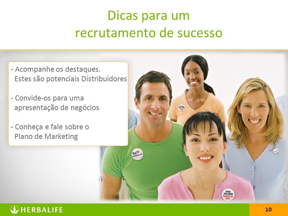 10 Dicas para um recrutamento de sucesso - Acompanhe os destaques. Estes são potenciais Distribuidores - Convide-os para uma apresentação de negócios