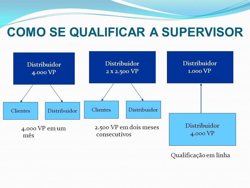 Distribuidor 4.000 VP Distribuidor 1.000 VP Qualificação em linha Distribuidor 4.000 VP 4.000 VP em um mês ClientesDistribuidor 2 x 2.500 VP 2.500 VP