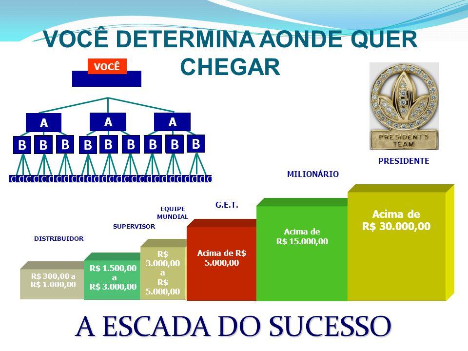 R$ 300,00 a R$ 1.000,00 SUPERVISOR EQUIPE MUNDIAL R$ 1.500,00 a R$ 3.000,00 R$ 3.000,00 a R$ 5.000,00 DISTRIBUIDOR VOCÊ C C C C C C C C C C C C C C C