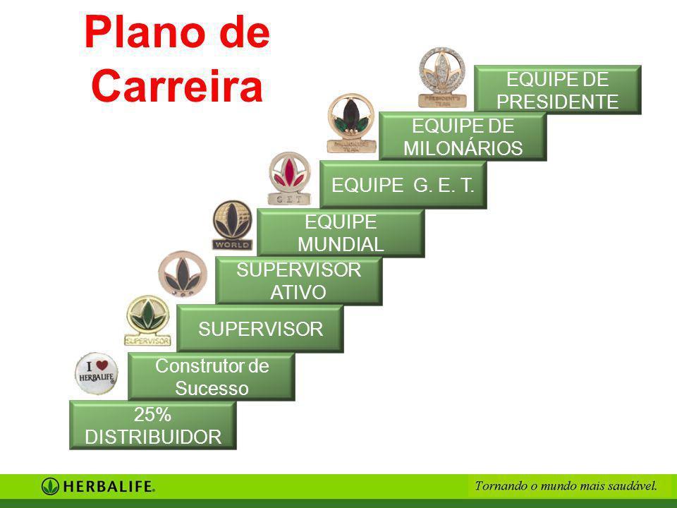 EQUIPE DE PRESIDENTE EQUIPE DE MILONÁRIOS EQUIPE MUNDIAL EQUIPE G. E. T. SUPERVISOR ATIVO SUPERVISOR 25% DISTRIBUIDOR Construtor de Sucesso Plano de C