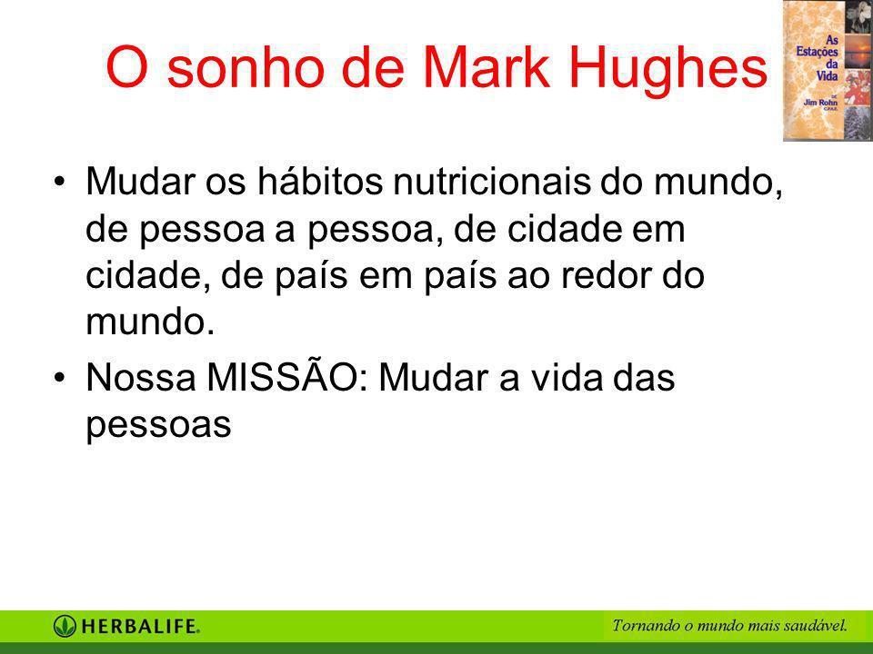 O sonho de Mark Hughes Mudar os hábitos nutricionais do mundo, de pessoa a pessoa, de cidade em cidade, de país em país ao redor do mundo. Nossa MISSÃ