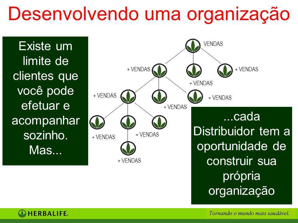 ...cada Distribuidor tem a oportunidade de construir sua própria organização Existe um limite de clientes que você pode efetuar e acompanhar sozinho.