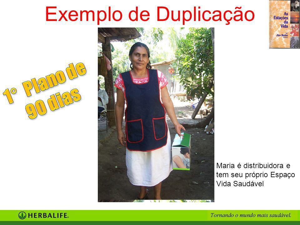 Maria é distribuidora e tem seu próprio Espaço Vida Saudável Exemplo de Duplicação