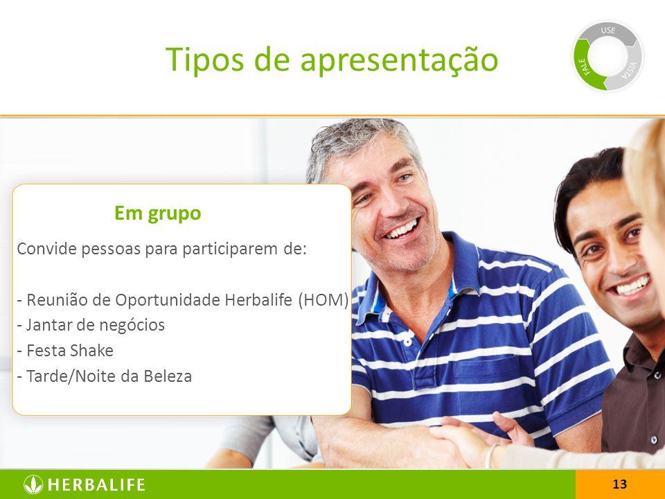 13 Tipos de apresentação Convide pessoas para participarem de: - Reunião de Oportunidade Herbalife (HOM) - Jantar de negócios - Festa Shake - Tarde/No