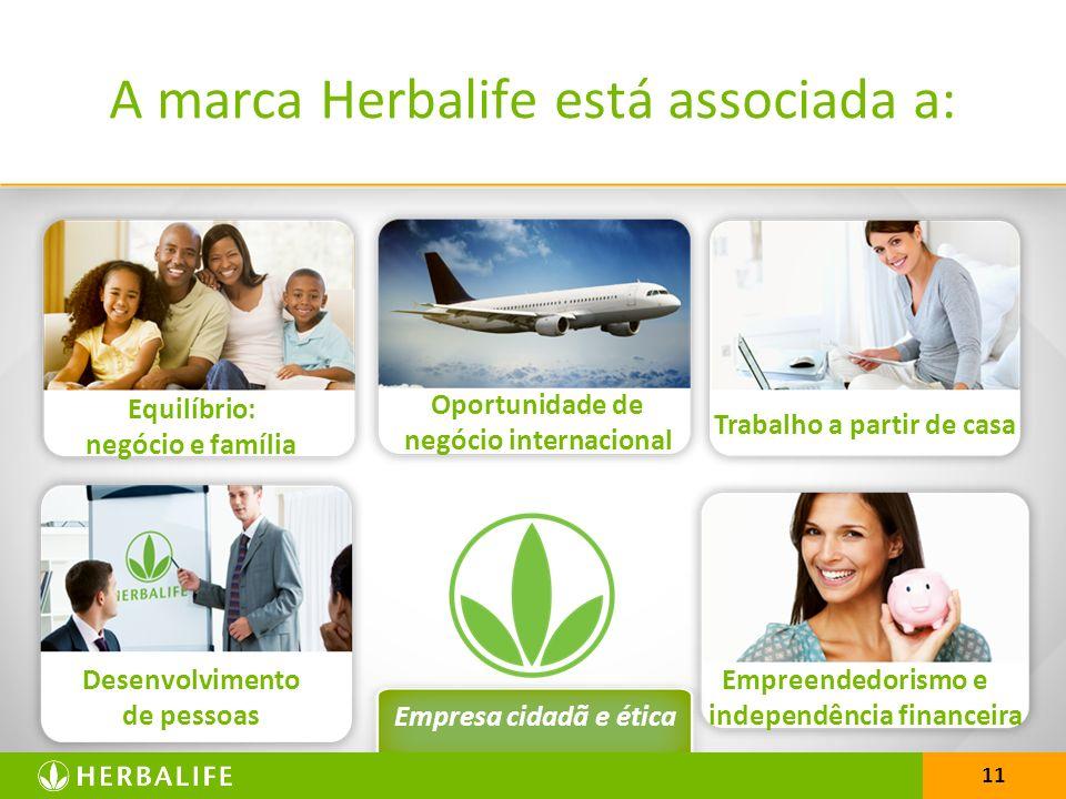 11 A marca Herbalife está associada a: Equilíbrio: negócio e família Oportunidade de negócio internacional Trabalho a partir de casa Desenvolvimento de pessoas Empreendedorismo e independência financeira Empresa cidadã e ética