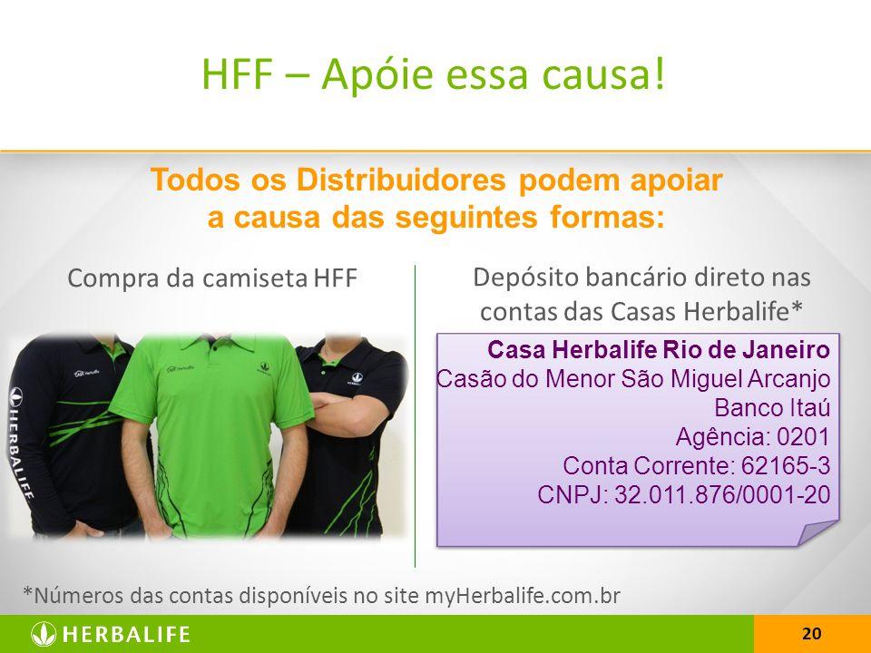 20 Todos os Distribuidores podem apoiar a causa das seguintes formas: *Números das contas disponíveis no site myHerbalife.com.br HFF – Apóie essa causa.