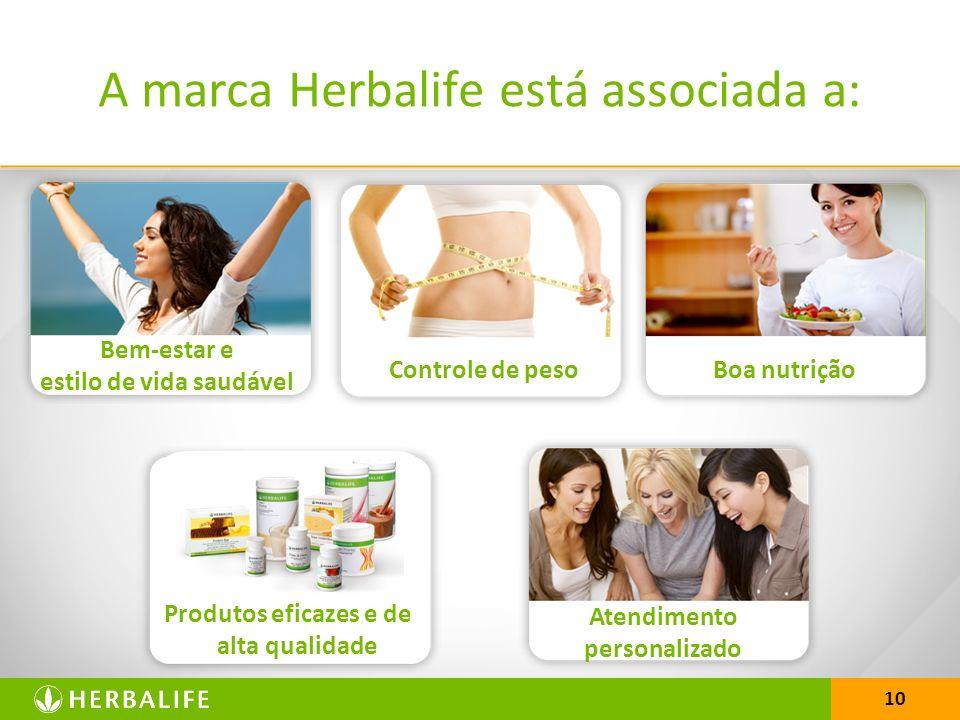 10 A marca Herbalife está associada a: Bem-estar e estilo de vida saudável Controle de pesoBoa nutrição Atendimento personalizado Produtos eficazes e