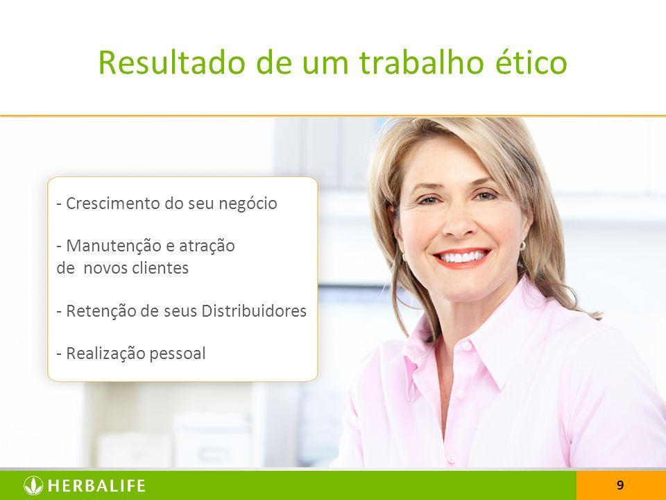 9 Resultado de um trabalho ético - Crescimento do seu negócio - Manutenção e atração de novos clientes - Retenção de seus Distribuidores - Realização