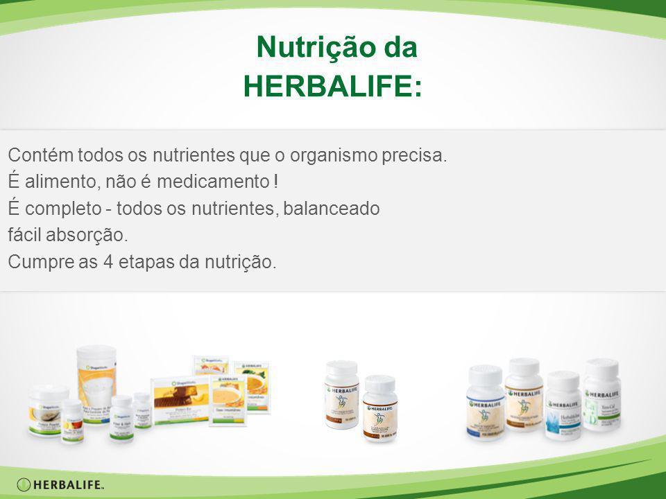 Nutrição da HERBALIFE: Contém todos os nutrientes que o organismo precisa. É alimento, não é medicamento ! É completo - todos os nutrientes, balancead