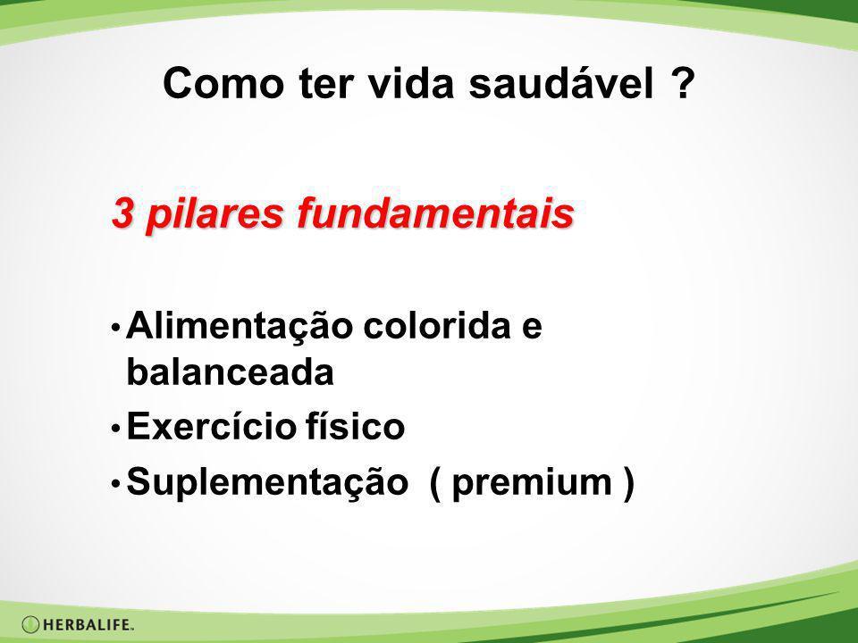 Como ter vida saudável ? 3 pilares fundamentais Alimentação colorida e balanceada Exercício físico Suplementação ( premium )