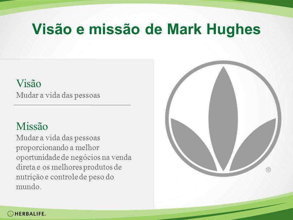 Visão e missão de Mark Hughes Visão Mudar a vida das pessoas Missão Mudar a vida das pessoas proporcionando a melhor oportunidade de negócios na venda