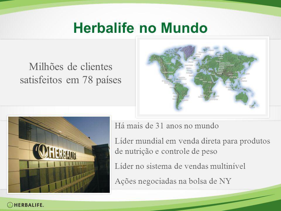 Herbalife no Mundo Milhões de clientes satisfeitos em 78 países Há mais de 31 anos no mundo Líder mundial em venda direta para produtos de nutrição e