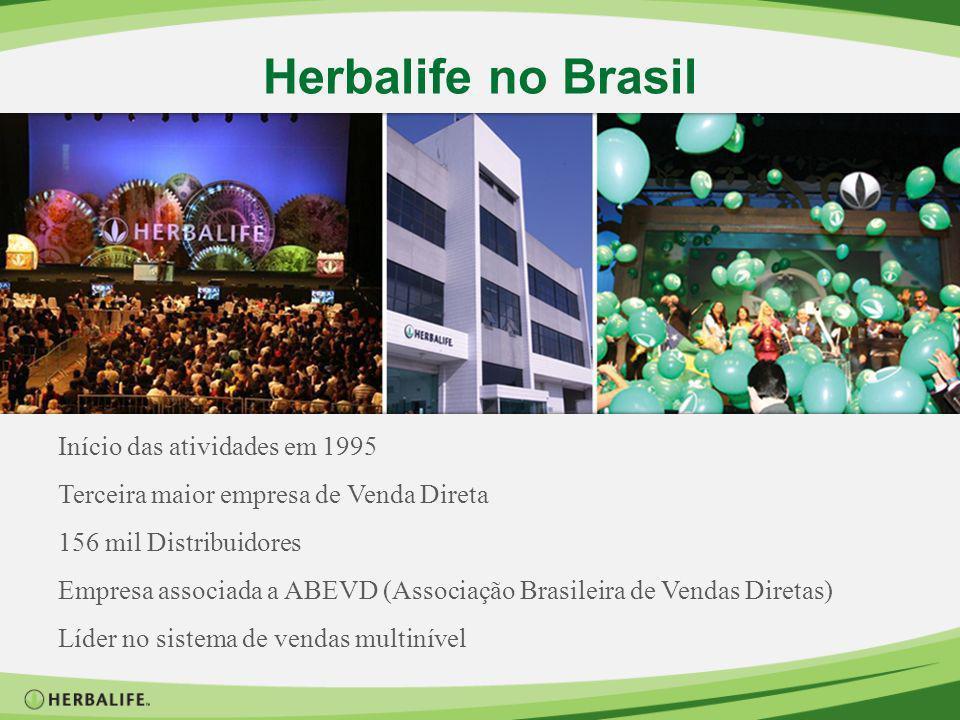 Herbalife no Brasil Início das atividades em 1995 Terceira maior empresa de Venda Direta 156 mil Distribuidores Empresa associada a ABEVD (Associação