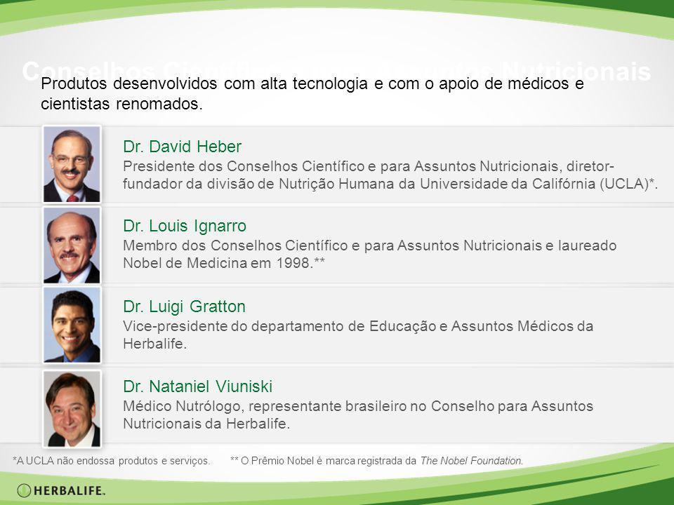 Conselhos Científico e para Assuntos Nutricionais Produtos desenvolvidos com alta tecnologia e com o apoio de médicos e cientistas renomados. Dr. Davi