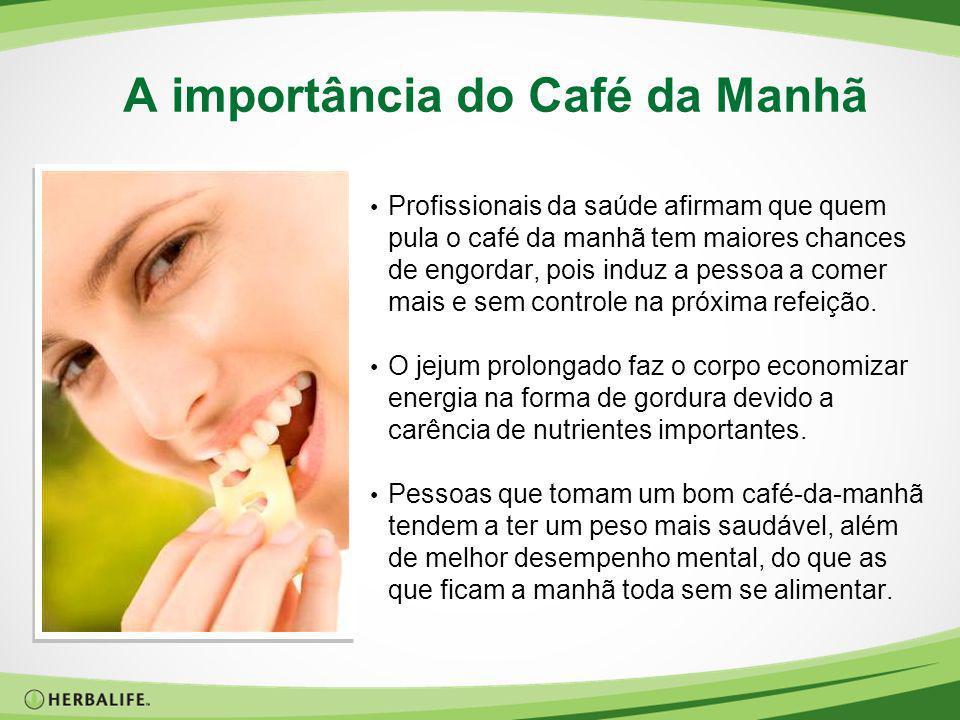 A importância do Café da Manhã Profissionais da saúde afirmam que quem pula o café da manhã tem maiores chances de engordar, pois induz a pessoa a com