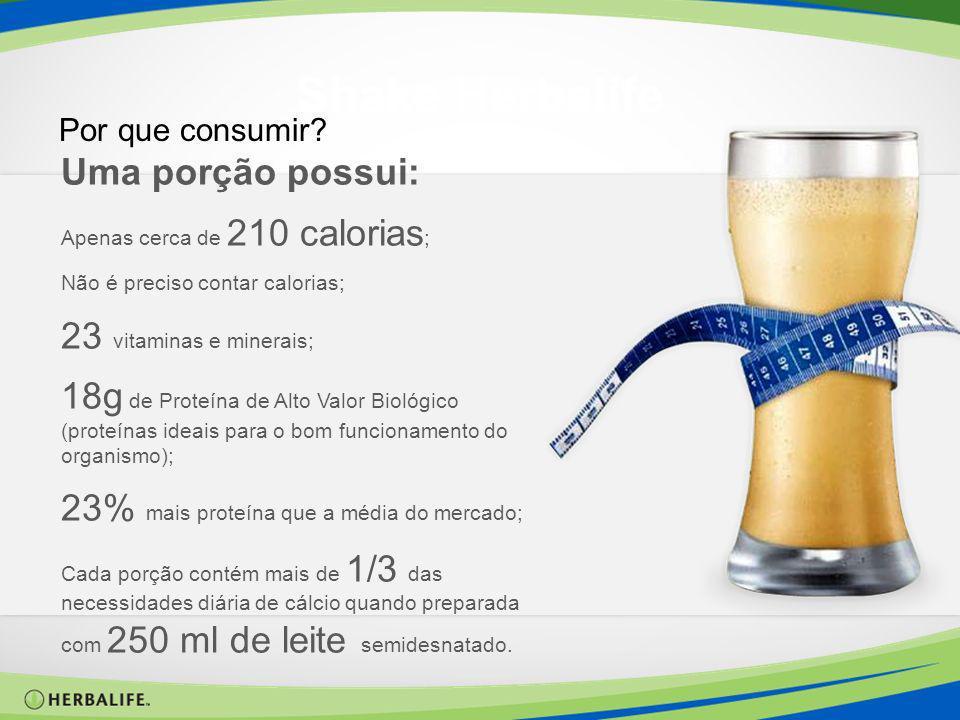 Shake Herbalife Por que consumir? Uma porção possui: Apenas cerca de 210 calorias ; Não é preciso contar calorias; 23 vitaminas e minerais; 18g de Pro