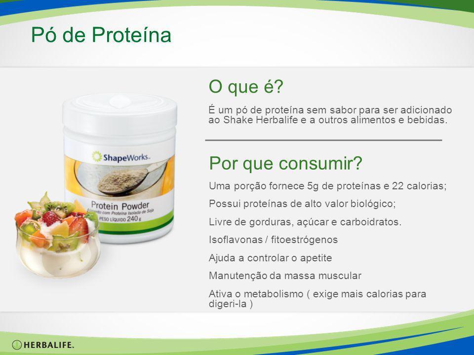 O que é? É um pó de proteína sem sabor para ser adicionado ao Shake Herbalife e a outros alimentos e bebidas. Pó de Proteína Por que consumir? Uma por