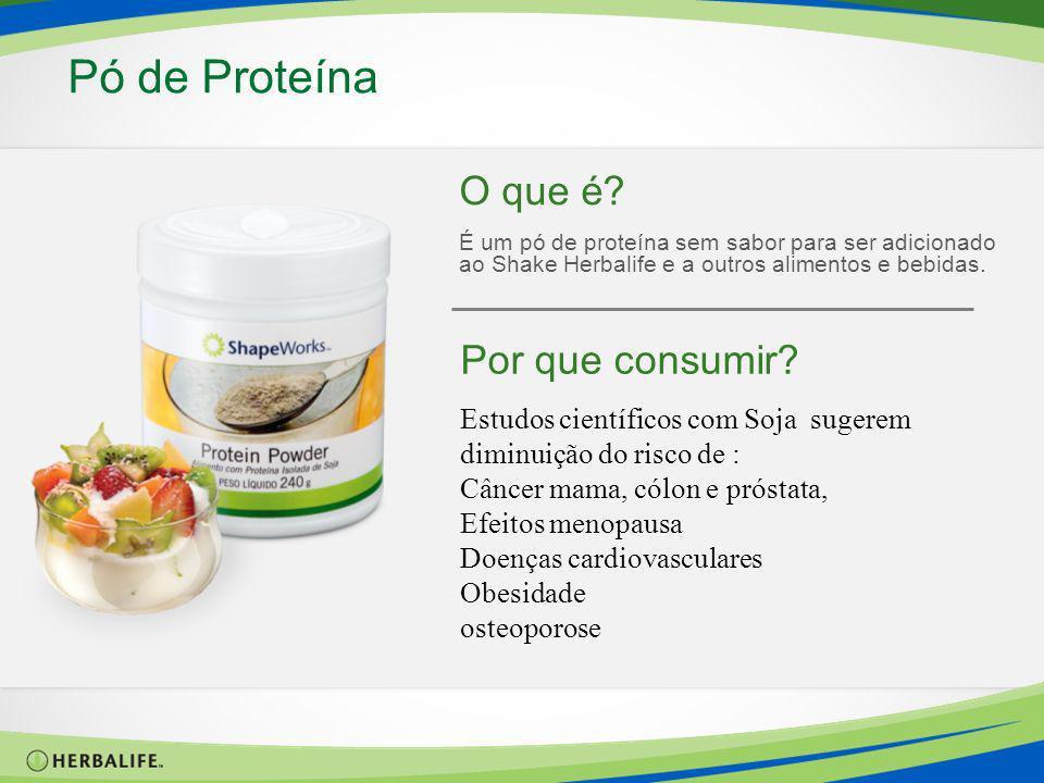 O que é? É um pó de proteína sem sabor para ser adicionado ao Shake Herbalife e a outros alimentos e bebidas. Pó de Proteína Por que consumir? Estudos