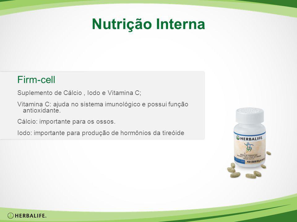 Firm-cell Suplemento de Cálcio, Iodo e Vitamina C; Vitamina C: ajuda no sistema imunológico e possui função antioxidante. Cálcio: importante para os o