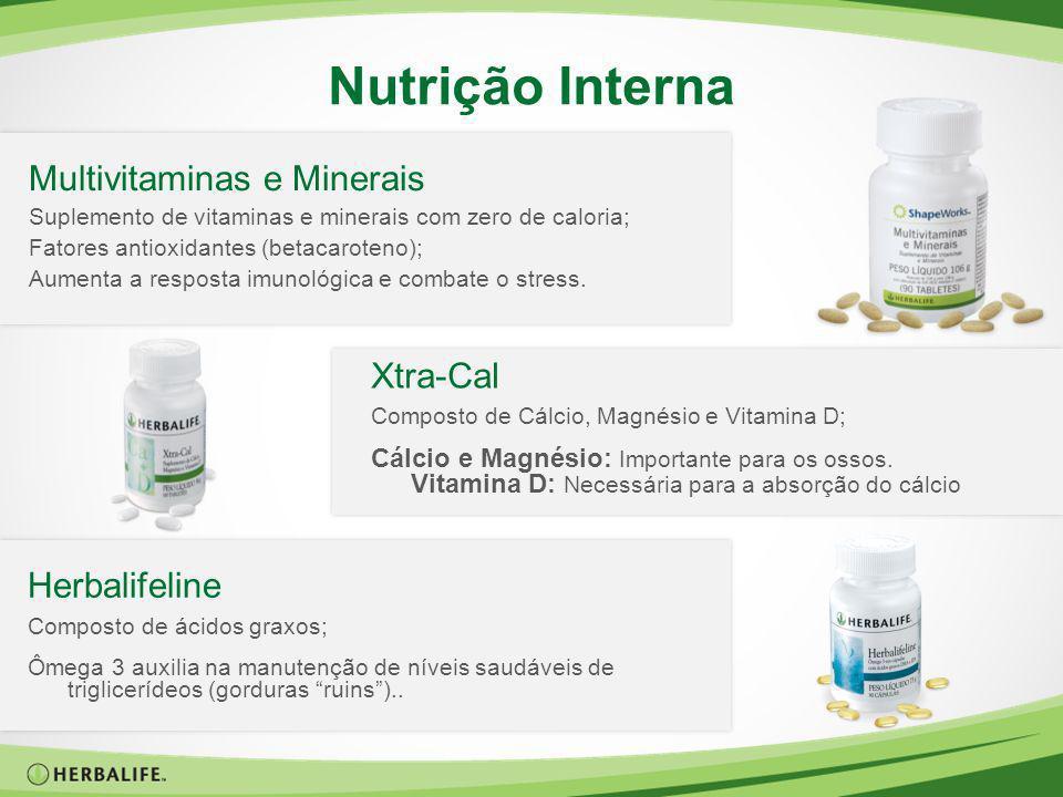Nutrição Interna Multivitaminas e Minerais Suplemento de vitaminas e minerais com zero de caloria; Fatores antioxidantes (betacaroteno); Aumenta a res
