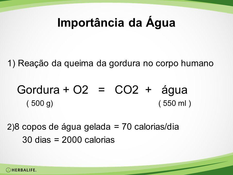 Importância da Água 1) Reação da queima da gordura no corpo humano Gordura + O2 = CO2 + água ( 500 g) ( 550 ml ) 2) 8 copos de água gelada = 70 calori