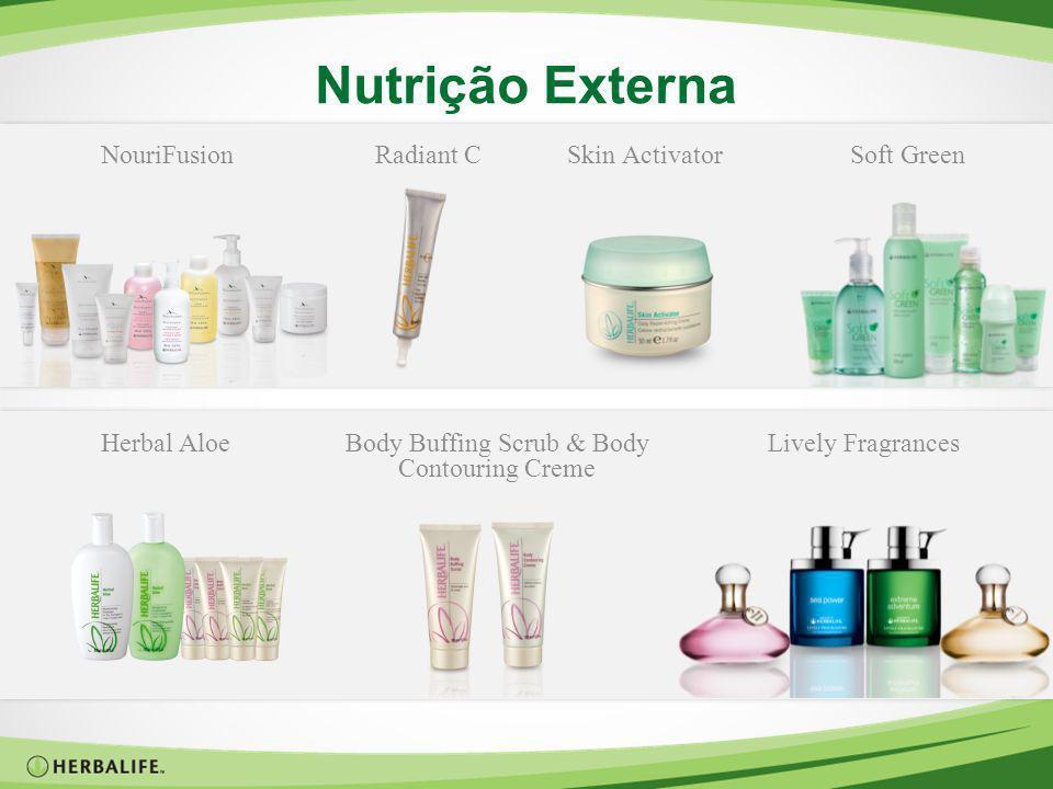 Nutrição Externa Herbal AloeBody Buffing Scrub & Body Contouring Creme Lively FragrancesNouriFusionRadiant CSkin ActivatorSoft Green