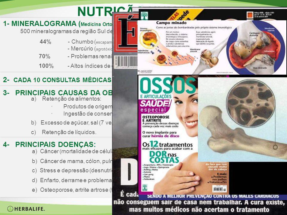 NUTRIÇÃO HUMANA 2- CADA 10 CONSULTAS MÉDICAS 7 SÃO ORIGEM DE MÁ ALIMENTAÇÃO 70%- Problemas renais( qualidade da água ) 44% - Chumbo ( escapamento de a