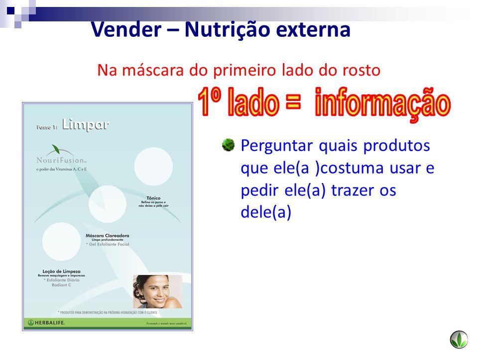 Perguntar quais produtos que ele(a )costuma usar e pedir ele(a) trazer os dele(a) Na máscara do primeiro lado do rosto Vender – Nutrição externa