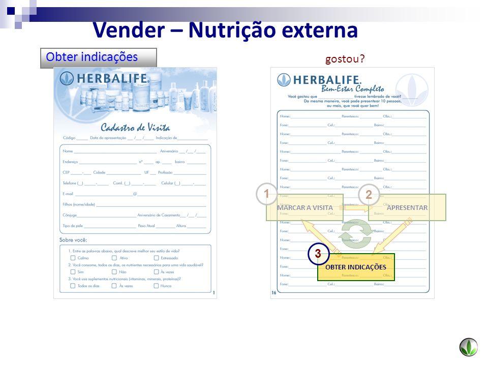 Obter indicações OBTER INDICAÇÕES MARCAR A VISITAAPRESENTAR 1 2 3 Vender – Nutrição externa gostou?