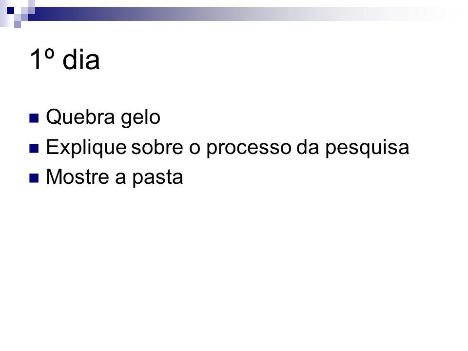 1º dia Quebra gelo Explique sobre o processo da pesquisa Mostre a pasta