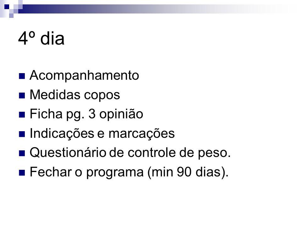 4º dia Acompanhamento Medidas copos Ficha pg. 3 opinião Indicações e marcações Questionário de controle de peso. Fechar o programa (min 90 dias).