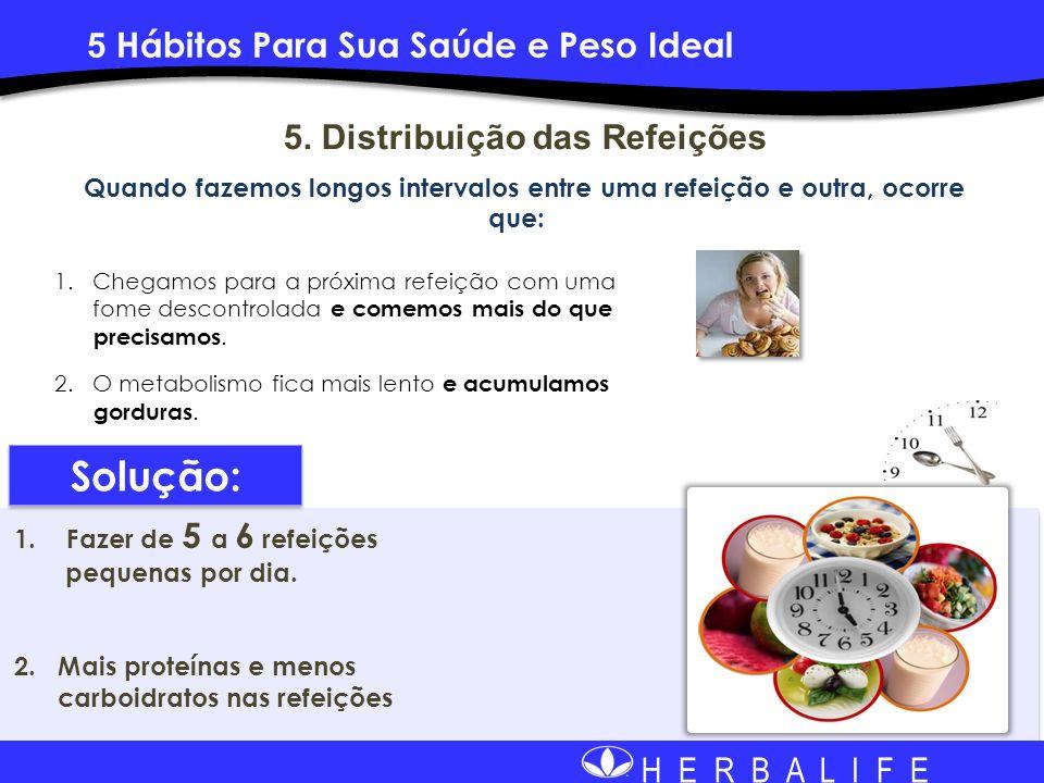 H E R B A L I F E 5. Distribuição das Refeições Quando fazemos longos intervalos entre uma refeição e outra, ocorre que: 1. Chegamos para a próxima re