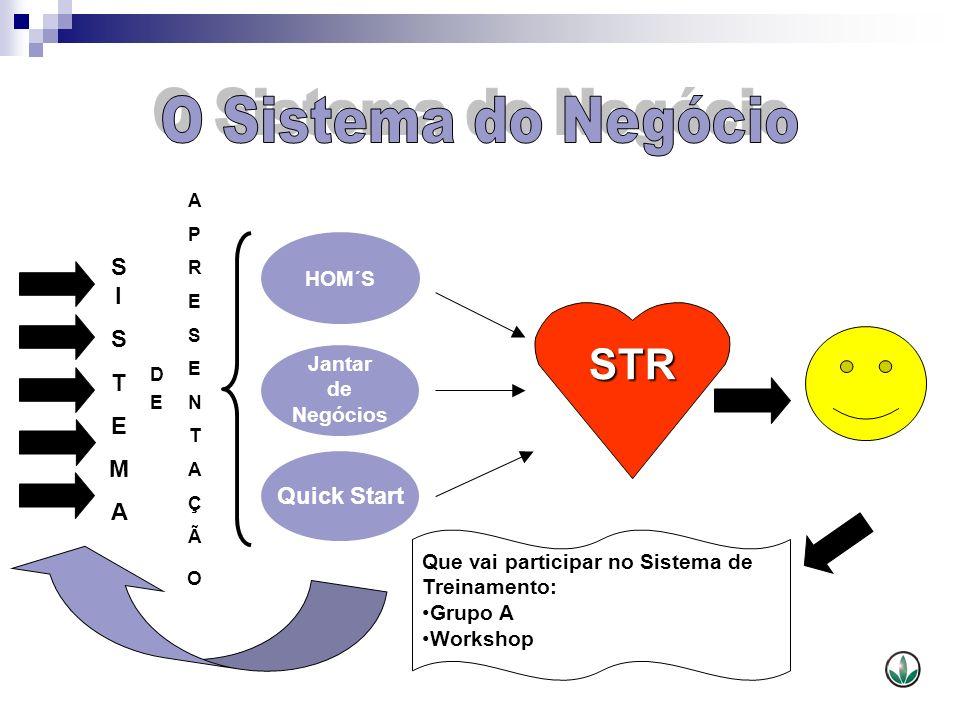 STR HOM´S Jantar de Negócios Quick Start SISTEMASISTEMA APRESENTAÇÃOAPRESENTAÇÃO DEDE Que vai participar no Sistema de Treinamento: Grupo A Workshop
