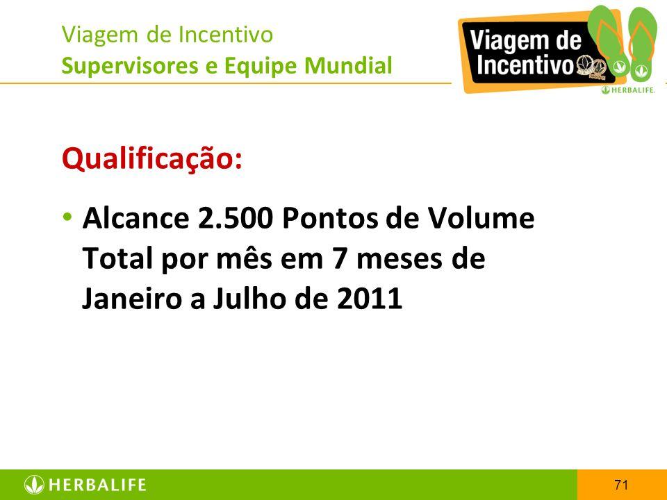 71 Viagem de Incentivo Supervisores e Equipe Mundial Qualificação: Alcance 2.500 Pontos de Volume Total por mês em 7 meses de Janeiro a Julho de 2011