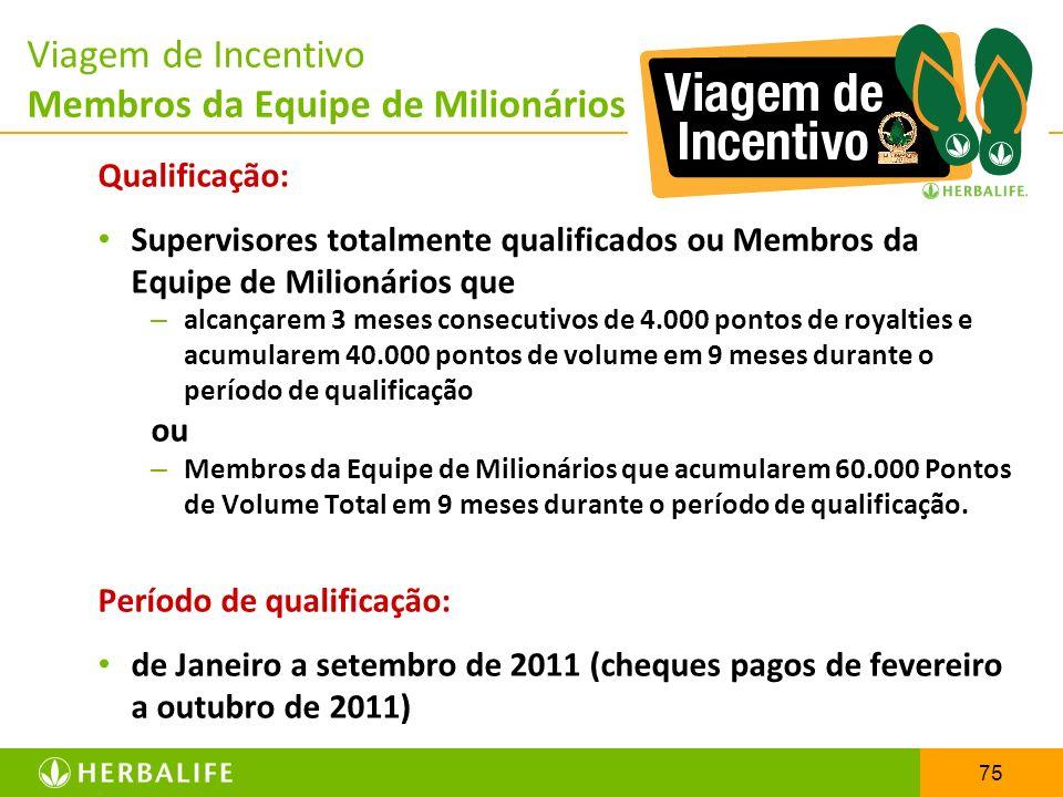 75 Viagem de Incentivo Membros da Equipe de Milionários Qualificação: Supervisores totalmente qualificados ou Membros da Equipe de Milionários que – a