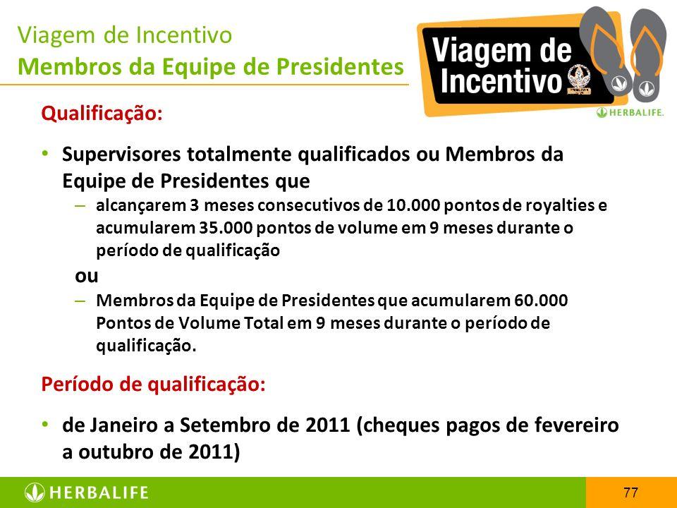 77 Viagem de Incentivo Membros da Equipe de Presidentes Qualificação: Supervisores totalmente qualificados ou Membros da Equipe de Presidentes que – a