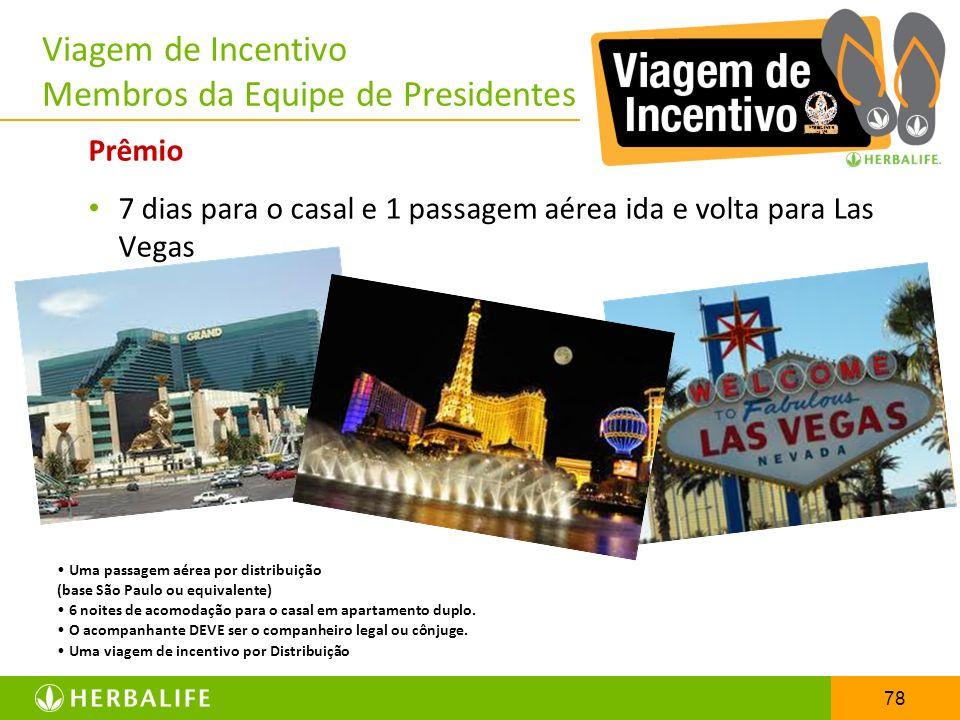 78 Viagem de Incentivo Membros da Equipe de Presidentes Prêmio 7 dias para o casal e 1 passagem aérea ida e volta para Las Vegas Uma passagem aérea po