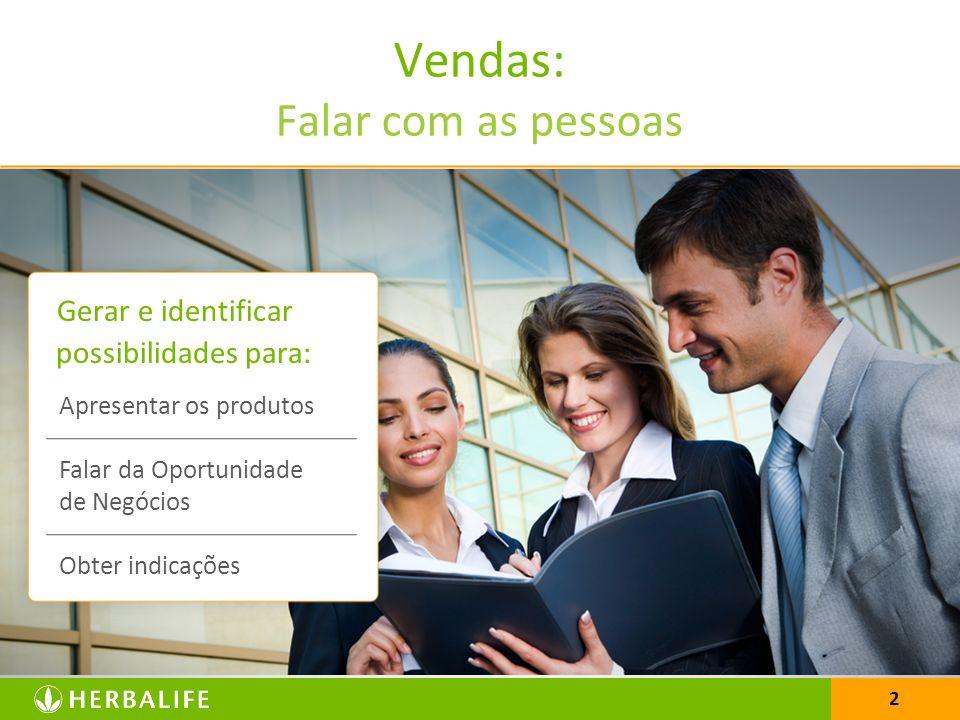 2 Vendas: Falar com as pessoas Gerar e identificar possibilidades para: Apresentar os produtos Falar da Oportunidade de Negócios Obter indicações