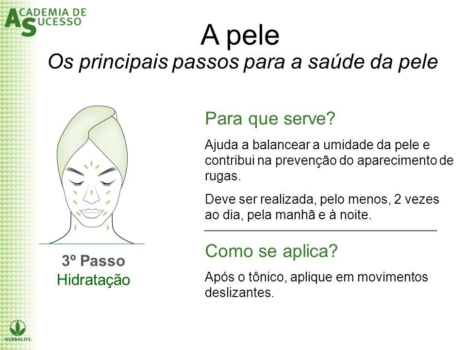 A pele 3º Passo Hidratação Para que serve? Ajuda a balancear a umidade da pele e contribui na prevenção do aparecimento de rugas. Deve ser realizada,